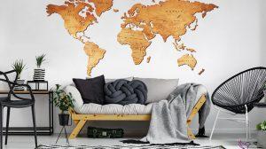 Mapa świata z drewna - stylowa ozdoba do nowoczesnego wnętrza