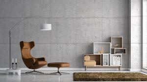 Beton w salonie-aranżacja wnętrz jaki odcień wybrać z czym łączyć.